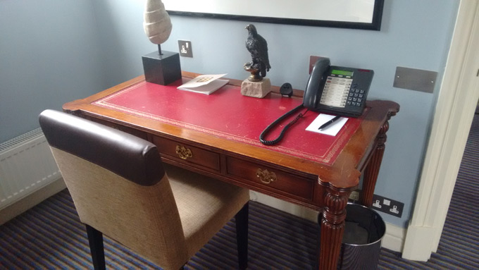 Chair and desk where J.K. Rowling finished Harry Potter and the Deathly Hallows, at The Balmoral Hotel