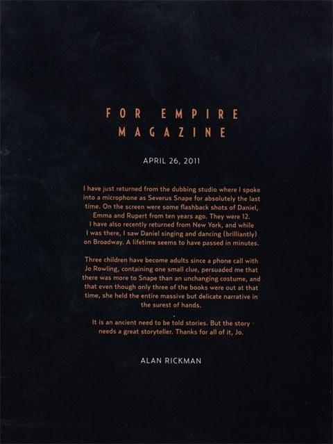 Alan Rickman - Farewell Harry Potter