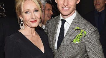 J.K. Rowling at the Premiere with Eddie Redmayne