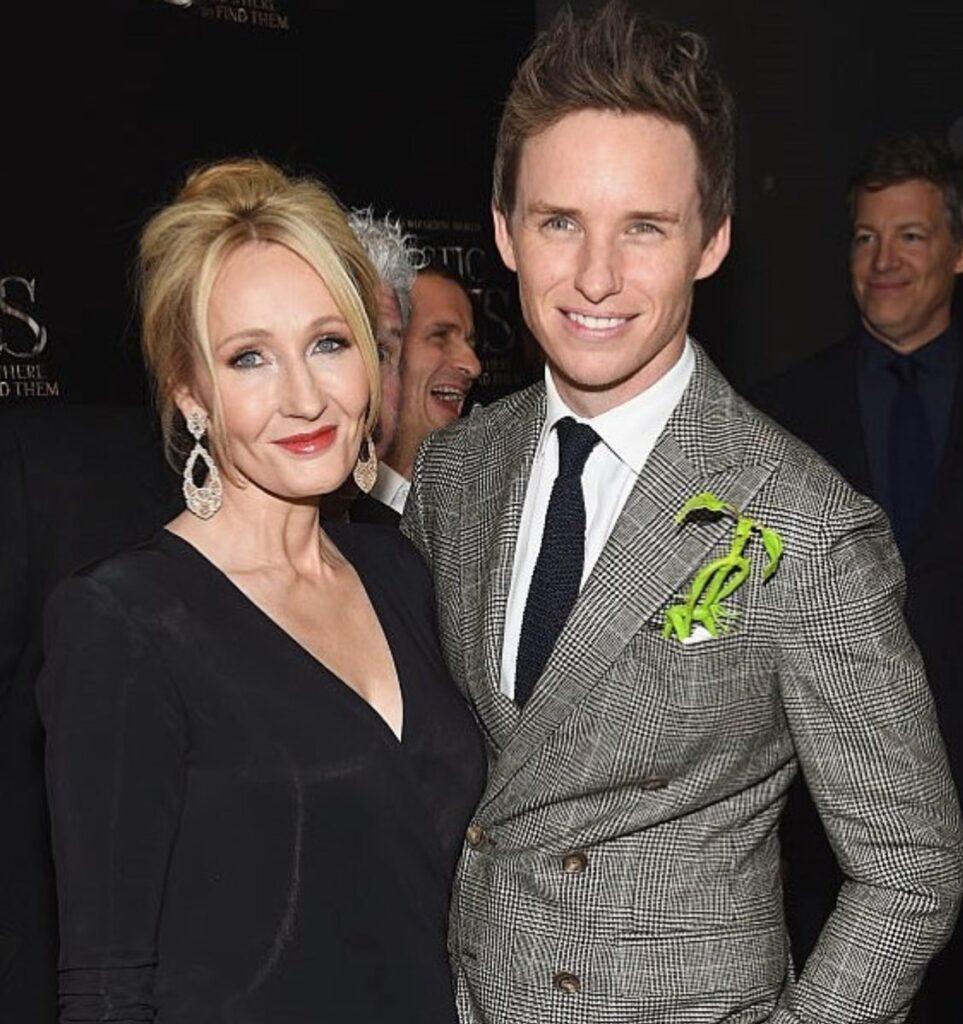 J.K. Rowling at the Premiere with Eddie Redmayne