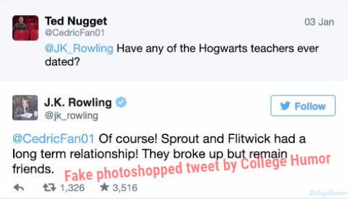 Fake tweet made by CollegeHumor
