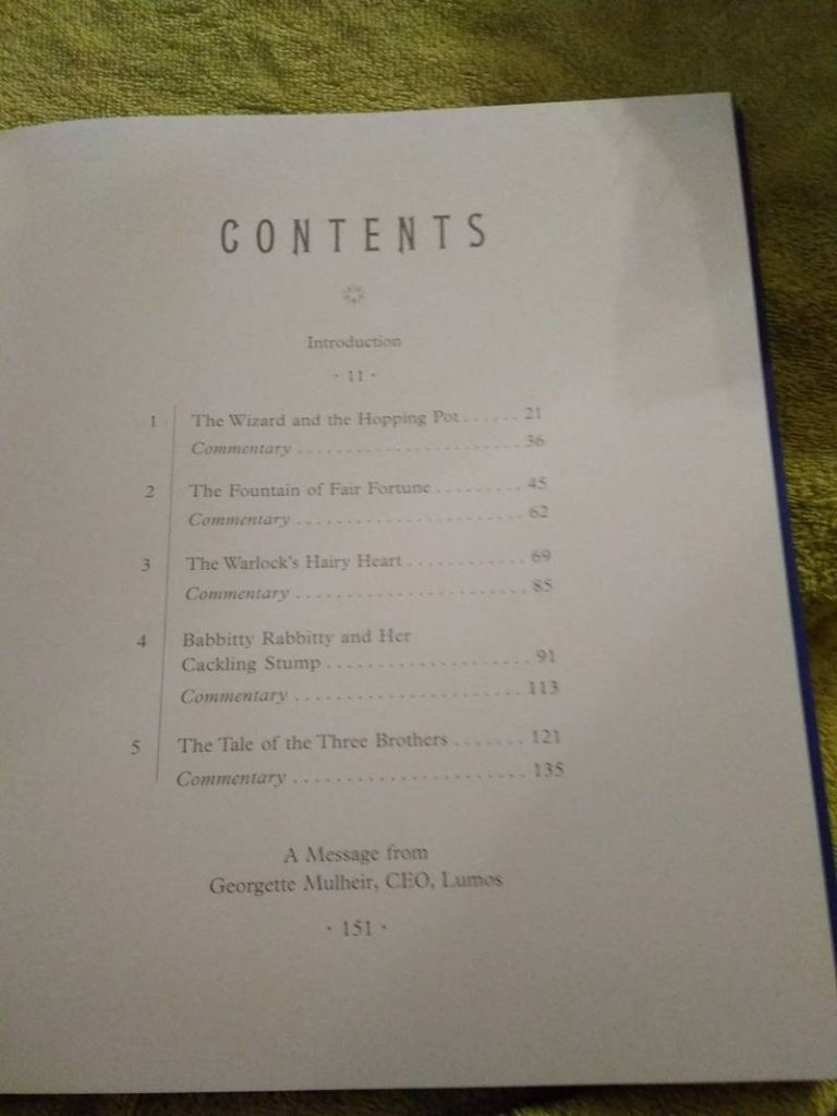 Table of Contents for American Edition of The Tales of Beedle the Bard (Illustrated)
