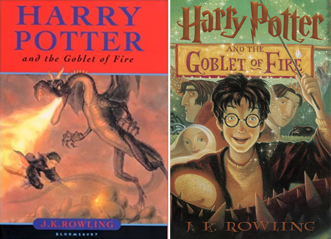 UK and USA covers of Harry Potter and the Goblet of Fire