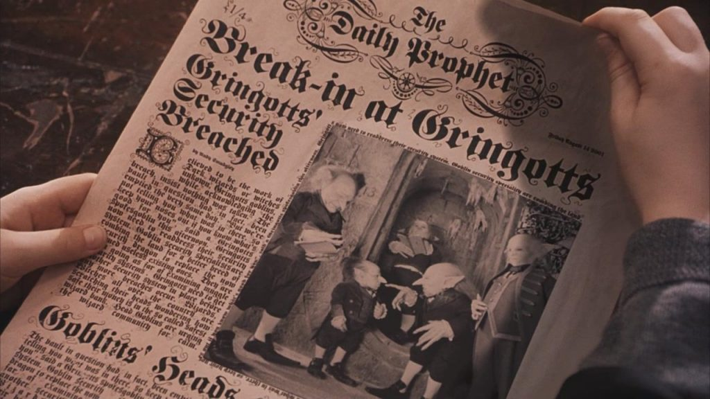 The Daily Prophet designed by Ruth, as seen in Harry Potter and the Philosopher's Stone (2001)