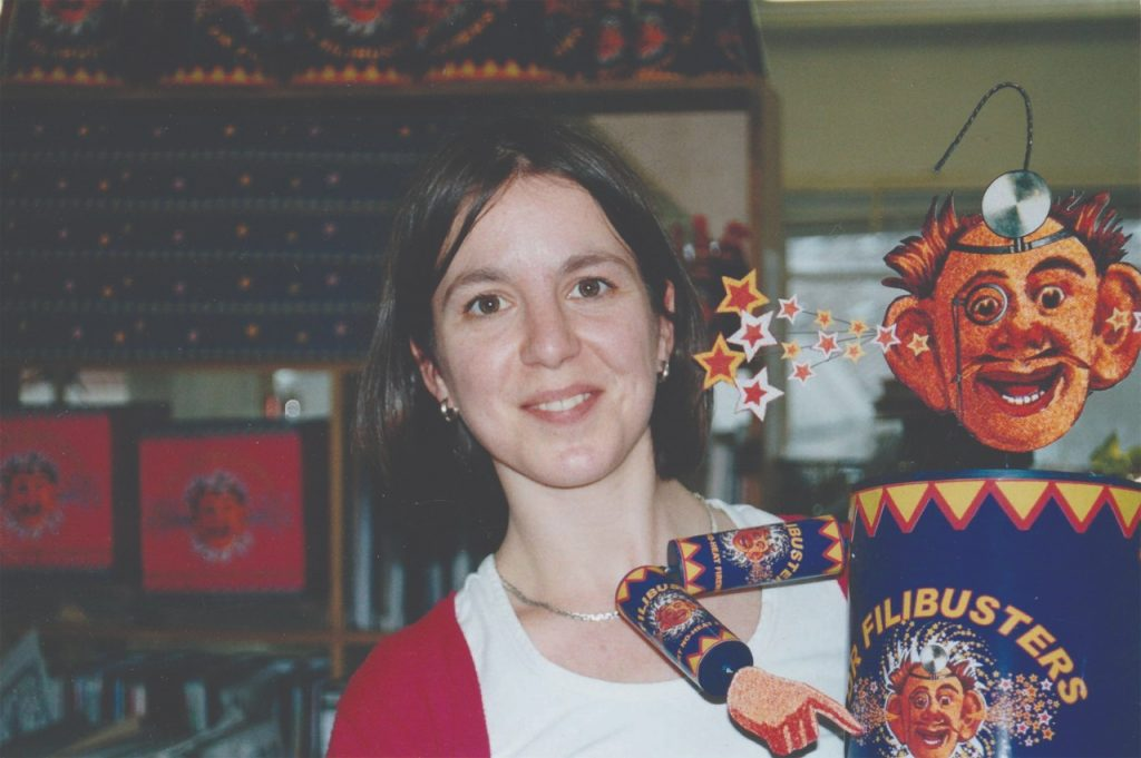 Ruth with the Filibusters Fireworks that she designed. They did not make the final cut of the movie.